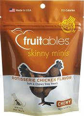 Treats:  Fruitables Chewy Skinny Mini Dog Treats Rotisserie Chicken