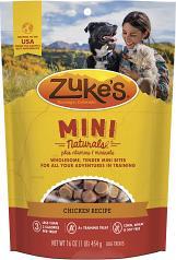 Treats:  Zukes Mini Natural Chicken Semi-Moist Training Treat 6 oz bag