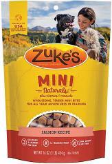 Treats:  Zukes Mini Natural Salmon Semi-Moist Training Treat 6 oz bag