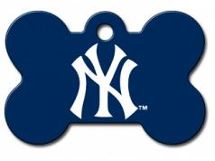 Engraved ID Tag:  Large Baseball Bone Shape NY Yankees