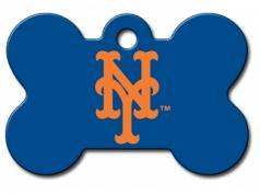 Engraved ID Tag:  Large NY Mets Bone Shape