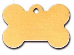 Engraved ID Tag:  Large Bone Shape Gold Matte