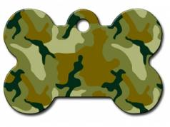 Engraved ID Tag:  Small Bone Shape Camo