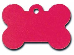 Engraved ID Tag:  Small Bone Shape Red
