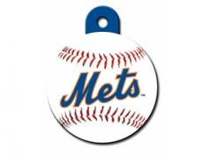Engraved ID Tag:  Large Baseball NY Mets Round