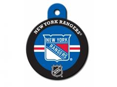 Engraved ID Tag:  Large Round NY Rangers NHL