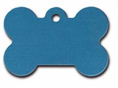 Engraved ID Tag:  Large Bone Shape Blue