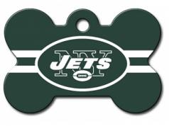 Engraved ID Tag:  Large Bone Shape Football Jets