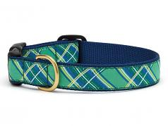 "Dog Collars: 5/8"" or 1"" Wide Kelly Plaid"