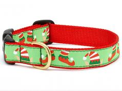 "Dog Collars: 5/8"" or 1"" Wide Holiday, Christmas Elves Clip Collar"