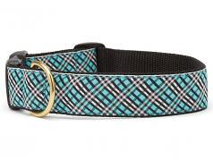 "Dog Collars: 1"" or 1.5"" Wide Aqua Plaid Clip Collar"