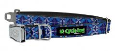 "Cycle Dog: WaterProof Blue Kaleidoscope Collar 1.1"" or 1.5"" Widths"