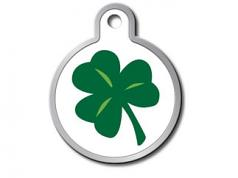 Engraved ID Tag:  Large Round Lucky Clover
