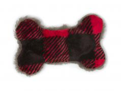 Dog Toy: Merry Bone Holiday Plaid, Three Sizes