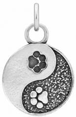 Yin and Yang Paw Pendant- Sterling Silver