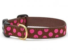 """Dog Collars: 5/8"""" or 1"""" Wide Brown Pink Dot Clip Collar"""