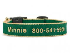 """Dog Collars: 5/8"""" or 1"""" Wide Green and Tan Bamboo Embroidered Collar"""