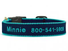 """Dog Collars: 5/8"""" or 1"""" Wide Navy and Aqua Bamboo Embroidered Collar"""