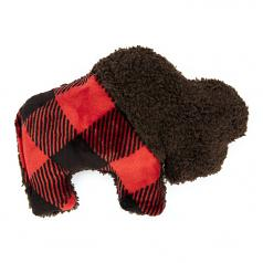 Dog Toy: Merry Bison Squeaker Toy in Red Plaid