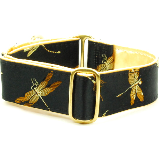 "Dog Collars:  Dragonflies Black & Gold 1.5"" Wide"