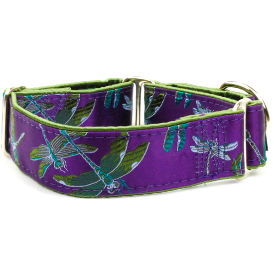 "Dog Collars:  Dragonflies Plum and Moss 1.5"" Wide"