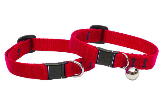 Lupine Cat Collar: Solid Red with or without a bell