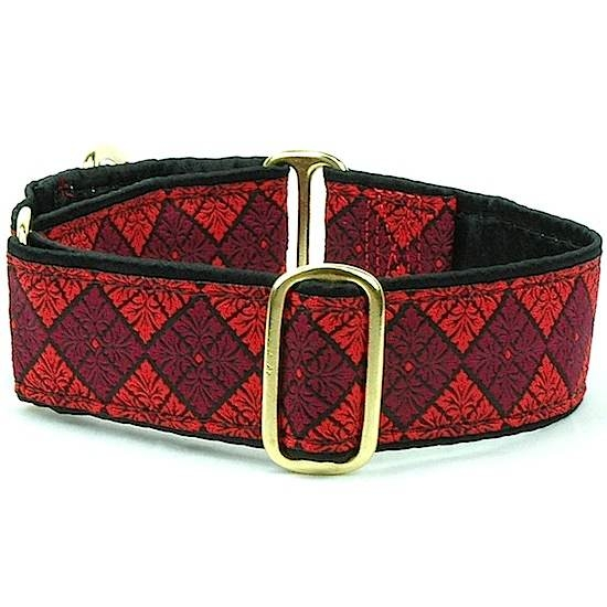 "Dog Collars:  Tile Leaf Red 1.5"" Wide"