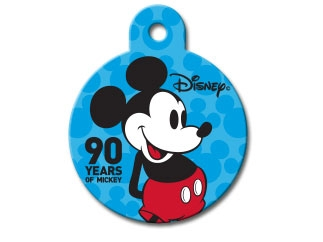 Engraved ID Tag:  Small Round Mickey Celebrating 90 yrs