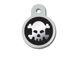 Engraved ID Tag:  Large Round Skull