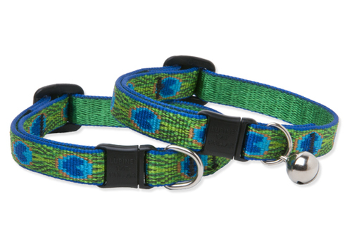 Lupine Cat Collar: Pattern Tail Feather with or without a bell