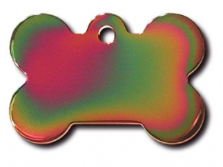 Engraved ID Tag:  Large Rainbow Bone Shape