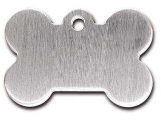 Engraved ID Tag:  Large Brushed Chrome Bone Shape