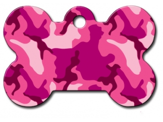 Engraved ID Tag:  Small Bone Shape Pink Camo