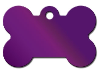 Engraved ID Tag:  Small Bone Shape Purple