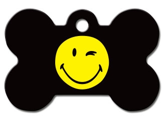 Engraved ID Tag:  Small or Large Winking Smiley Bone Shape