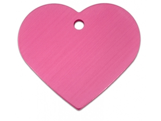 Engraved ID Tag:  Large Bright Pink Heart Shape