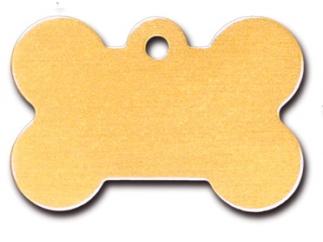 Engraved ID Tag:  Large Gold Matte Bone Shape