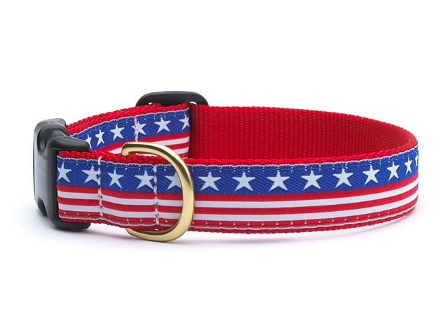 "Dog Collars: 5/8"" or 1"" Wide Stars & Stripes Clip Collar"