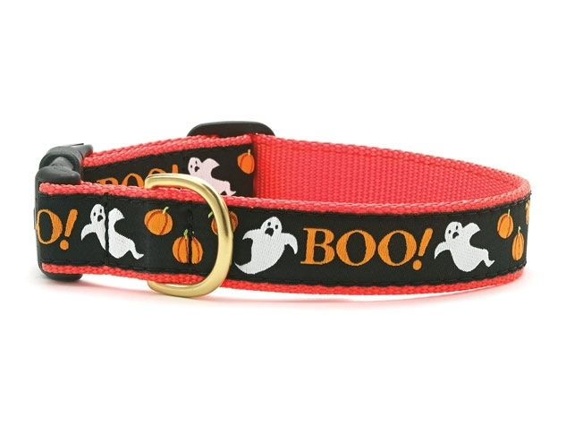 "Dog Collars: 5/8"" or 1"" Wide Holiday, Halloween Boo! Clip Collar"
