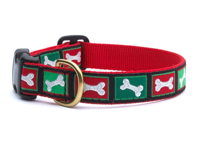 "Dog Collars: 5/8"" or 1"" Wide Holiday, Christmas Dog Bones Clip Collar"