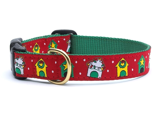 "Dog Collars: 5/8"" or 1"" Wide Holiday, Christmas Dog Houses Clip Collar"