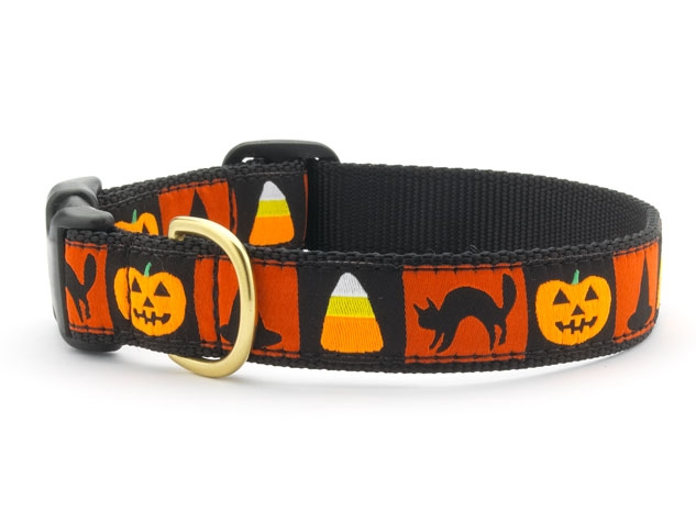 "Dog Collars: 5/8"" or 1"" Wide Holiday, Halloween Motif Clip Collar"
