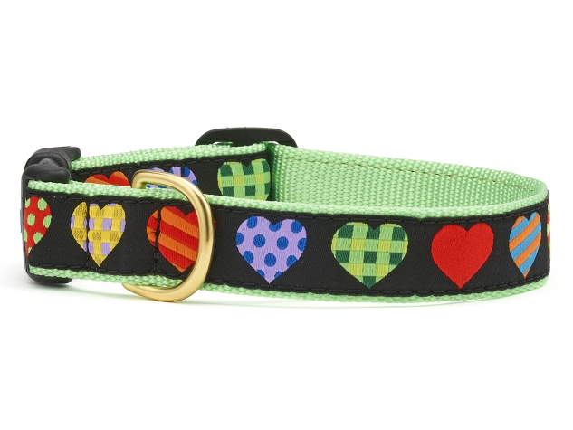 "Dog Collars: 5/8"" or 1"" Wide Colorful Hearts Collar"