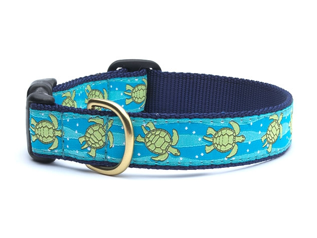 "Dog Collars: 5/8"" or 1"" Wide Sea Turtle Collar"