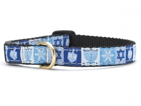 "Dog Collars: 5/8"" or 1"" Wide Holiday, Hanukkah Clip Collar"