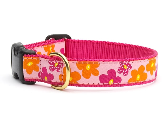 """Dog Collars: 5/8"""" or 1"""" Wide Flower Power Clip Collar"""
