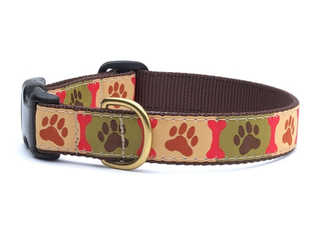 "Dog Collars: 5/8"" or 1"" Wide Pawprints Clip Collar"