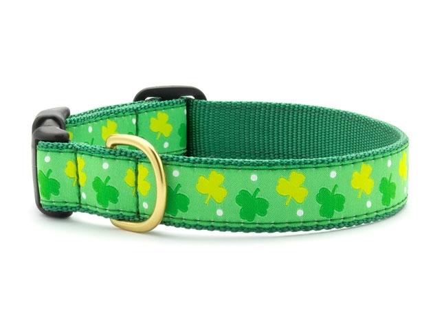 """Dog Collars: 5/8"""" or 1"""" Wide Shamrocks Clip Collar"""