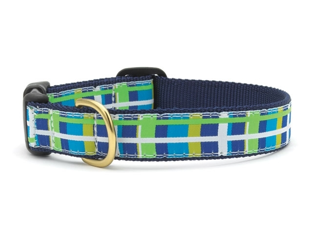 "Dog Collars: 5/8"" or 1"" Wide Newport Plaid Clip Collar"