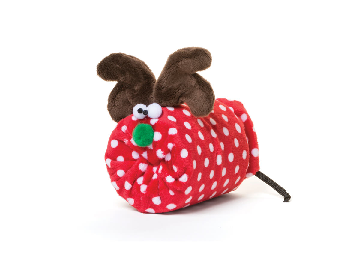Dog Toy:  Rudy the Reindeer Available in 2 Sizes in Large Red Dot or Small Brown